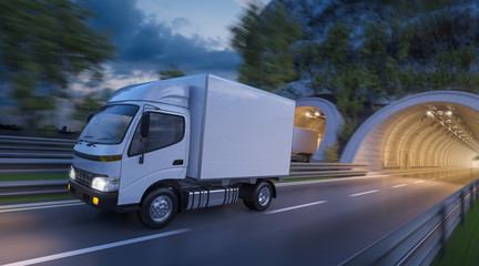 White Cargo Delivery Trucks in Motion