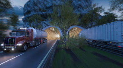 Commercial Vehicles Moving through Side by Side Tunnels
