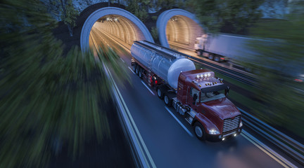 Commercial Trucks Moving through Side by Side Tunnels
