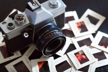 retro film camera and slides
