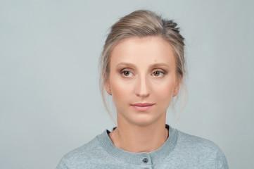 Closeup portrait of female face.