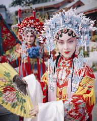 China, Beijing, Beijing opera performers, portrait