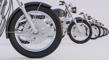 Lined up Motorcycles with Diminishing Perspective
