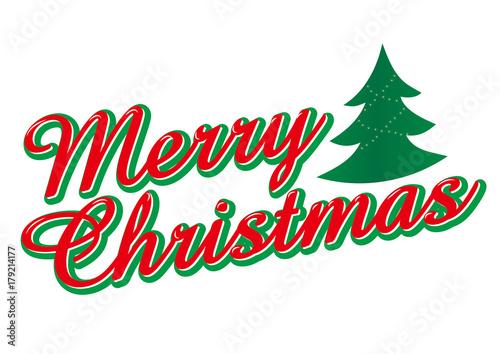メリークリスマスのロゴ もみの木のイラスト Merry Christmas Logo