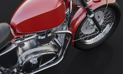 Closeup of Red Motorcycle on Black Background