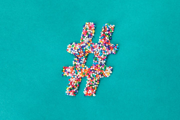 The hashtag/pound symbol built from nonpareils