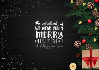 Christmas wooden background with christmas elements