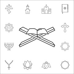 muslim holy book icon. Set of religion icons. Web Icons Premium quality graphic design. Signs, outline symbols collection, simple icons for websites, web design, mobile app