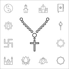 Holy rosary beads icon. Set of religion icons. Web Icons Premium quality graphic design. Signs, outline symbols collection, simple icons for websites, web design, mobile app