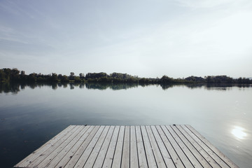 Pier at a Lake in summer