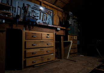 Old Workshop Shed with Workbench and Tools