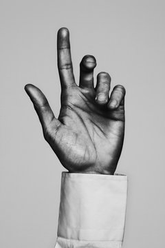 Businessman hand pointing. Black and white