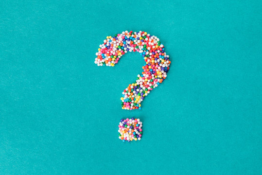 The question mark symbol built from nonpareils
