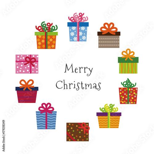 カラフルなクリスマスプレゼントのイラストfotoliacom の ストック画像