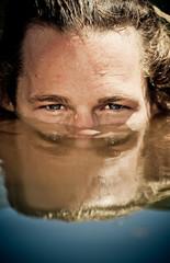 Man Peering Above Water, Close up