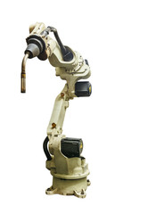 Robots welding machine manufacturing industrial isolate on white background