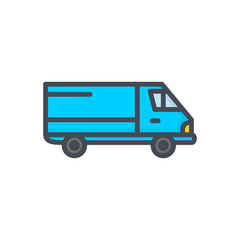 Delivery colored icon car courier truck shipping