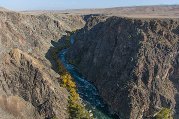 Charyn grand canyon and river in Kazakhstan