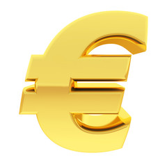 Gold euro sign with gradient reflections isolated on white