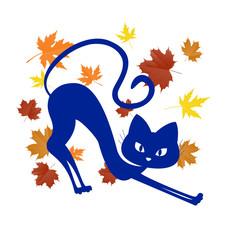 синяя кошка с листьями