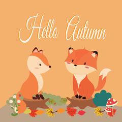 hello autumn card.cute fox