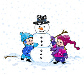 A young boy and girl having fun making a snowman on a cold winter day, with snow falling down around them.