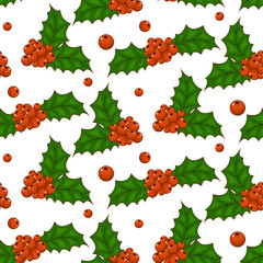 Christmas Holly berries seamless pattern vector. Isolated white background.
