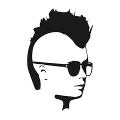 Man avatar half turn view. Male face silhouette or icon. Portrait with sunglasses. Mohawk hairstyle
