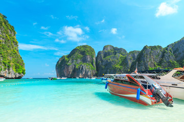 MAYA BAY one of the most beautiful beaches of Phuket province Thailand.