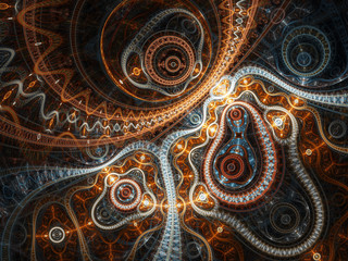 Abstract fractal machine, digital artwork for creative graphic design