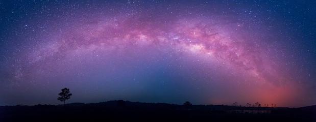 star, astronomy, Panoramic of  Milky Way Galaxy, Long exposure photograph with grain at  Thung Kamang nature park, Chaiyaphum, Thailand Wall mural