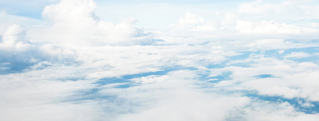 Aerial view of beautiful cloud layer in blue sky, took from the airplane