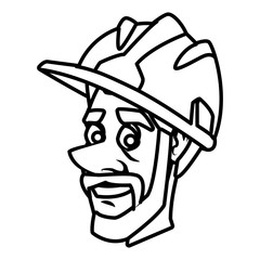 Worker face with helmet cartoon icon vector illustration graphic design