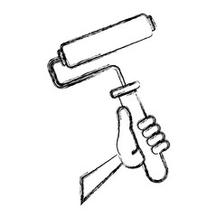 Rolling paint brush icon vector illustration graphic design