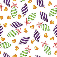 Seamless pattern with stripped christmas toys and bows on white background. Hand drawn watercolor illustration.
