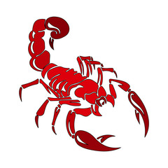 Silhouette of red scorpion, cartoon on white background,