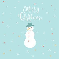 Merry Christmas cute greeting card with snowman for presents.