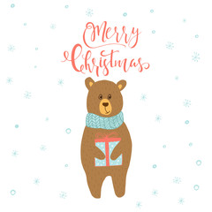 Merry Christmas cute greeting card with bear and gift for presents.