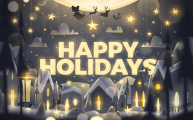 Happy Holidays greeting card in cartoon style.