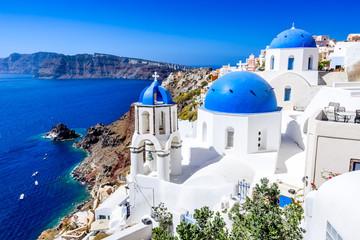 Spoed Foto op Canvas Santorini Oia, Santorini, Greece - Blue church and caldera