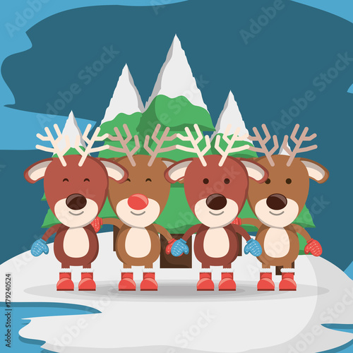 christmas deers over pine trees and blue background colorful