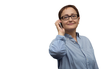 Business woman isolated on white background with a copy space on left . Portrait of middle aged office worker talking on phone.