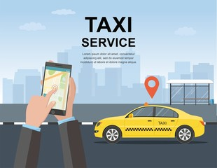 Taxi service concept. Vector web template. illustration.