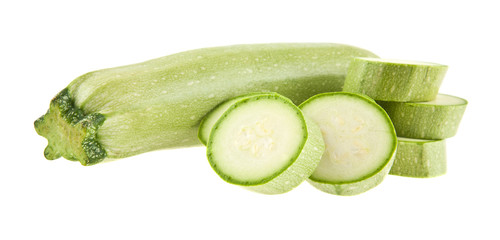 zucchini isolated on a white background closeup