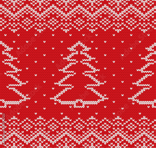 Knit Christmas Geometric Ornament Design With Fir Trees And