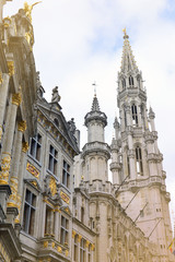 The Town Hall of the City of Brussels, a building of gothic architectural style from the middle ages located at the Grand Place in Brussels, Belgium