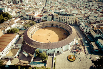 Ronda, Spain. Ancient Spanish city, top view. Photo from quadrocopter. Arena for bullfighting. Bullfighting.