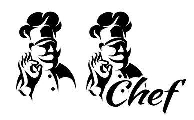 vector monochrome illustration with chef for menu