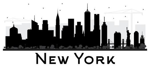 New York USA City skyline black and white silhouette.
