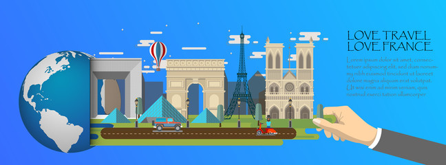 France infographic , global  with landmarks of Paris ,flat style.Love travel love France.